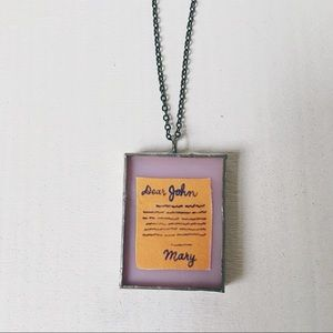 Handmade stained glass love letter necklace